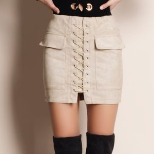 Dresses & Skirts - New lace up suede skirt